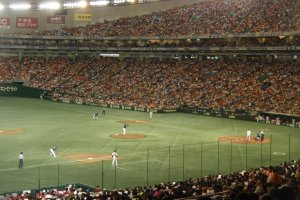 Crowd packed in for a weekend Yomiuri Giants game