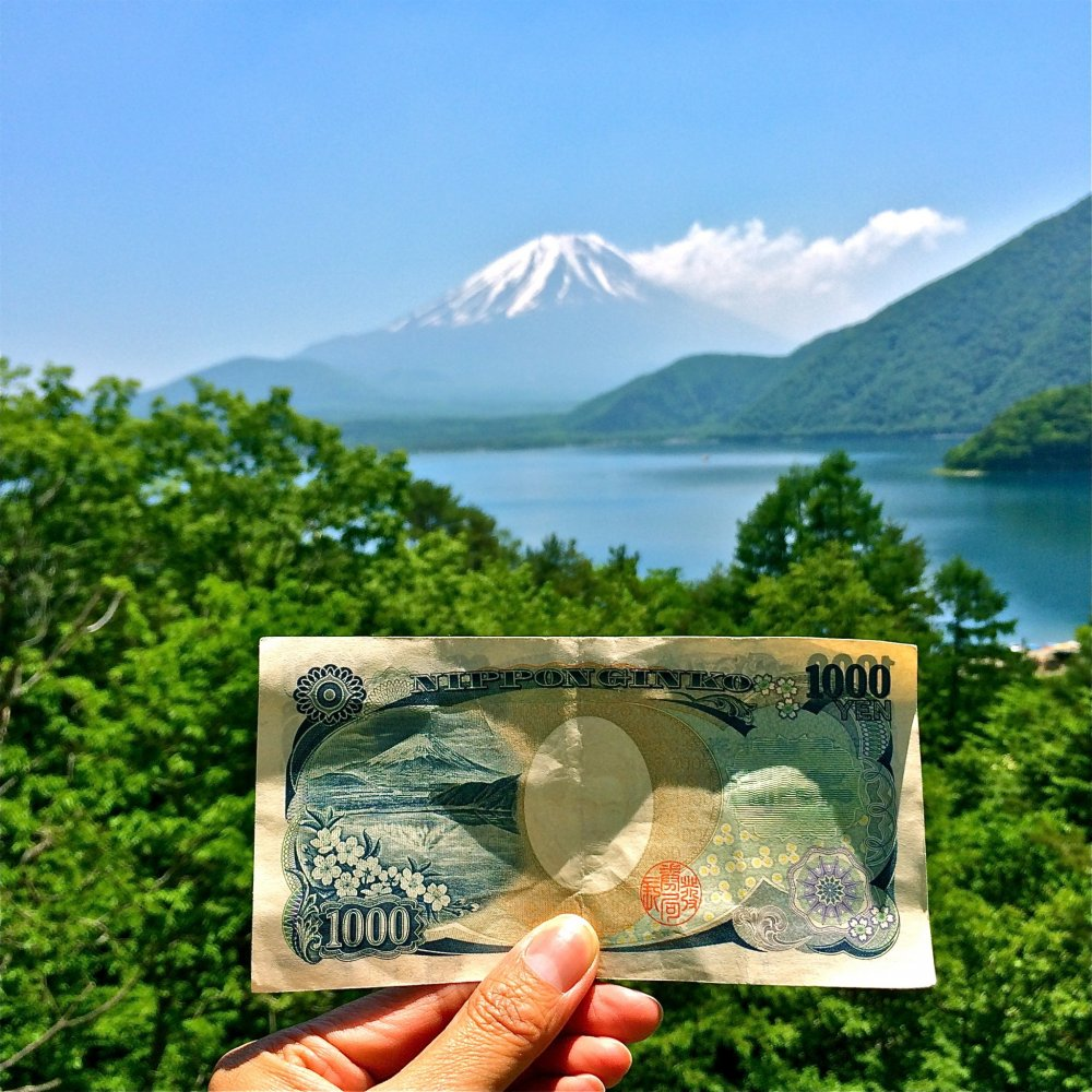 The northern shore of Lake Motosu presents a glorious view of snow-capped Mt. Fuji. The scene designed and printed on the 1,000yen bill!