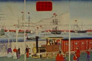 Yokohama Station drawn by Hiroshige III