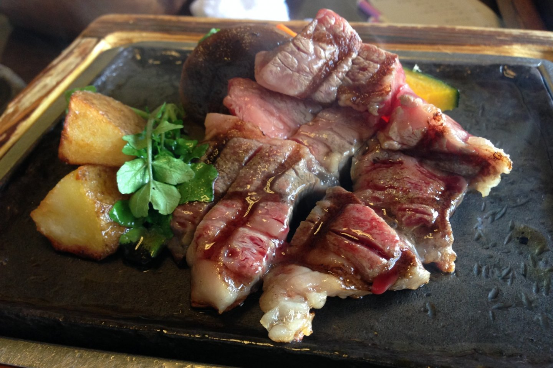 Wagyu beef, pumpkin and potato on the teppan hot plate