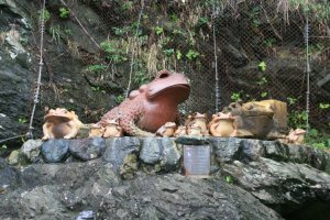 Some of the many frog effigies at the frog shrine.