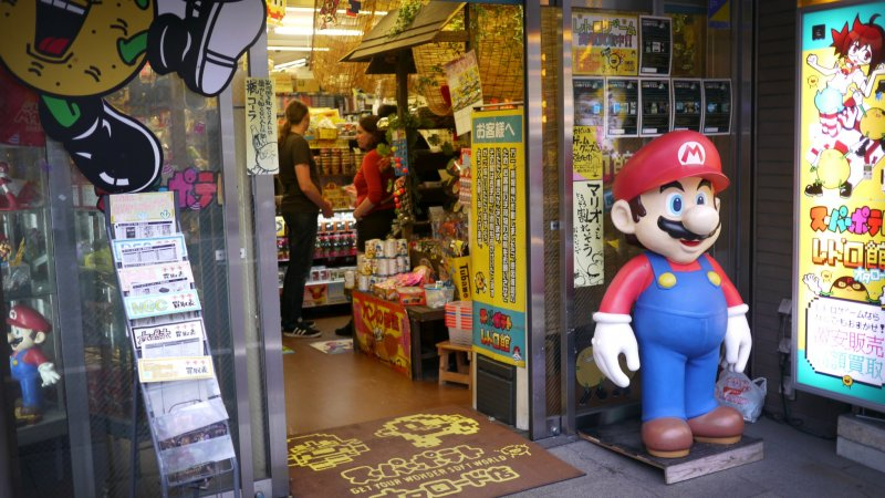<p>You can immediately spot the shop from its gigantic Super Mario figure!</p>