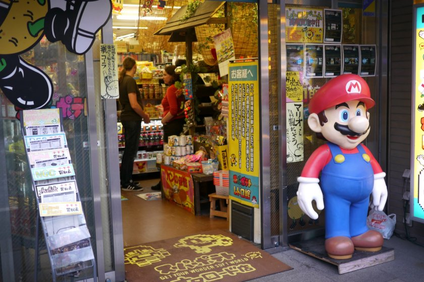 You can immediately spot the shop from its gigantic Super Mario figure!