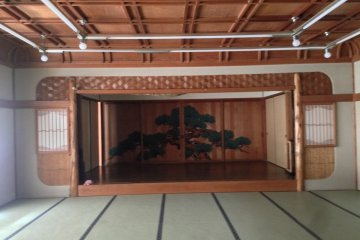 <p>The Noh inspired banquet room at&nbsp;Kagetsu Ryokan hotel about 30 minutes from Maizuru Cruise Ship Terminal</p>