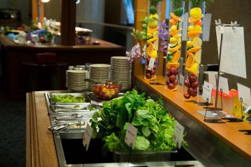 <p>Part of the dinner buffet in the downstairs restaurant</p>