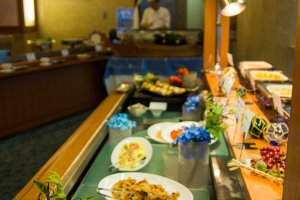 Part of the dinner buffet in the downstairs restaurant