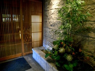 Beautiful flowers decorate the entrance hall