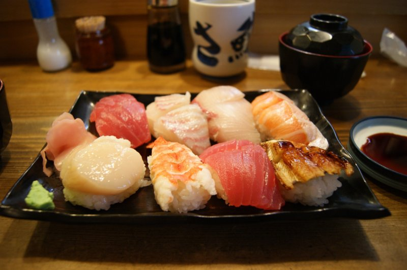 <p>The delicious&nbsp;&yen;1550 plate (with squid swapped for an extra tuna)</p>