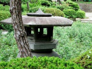 庭園内の石灯籠のクローズアップ