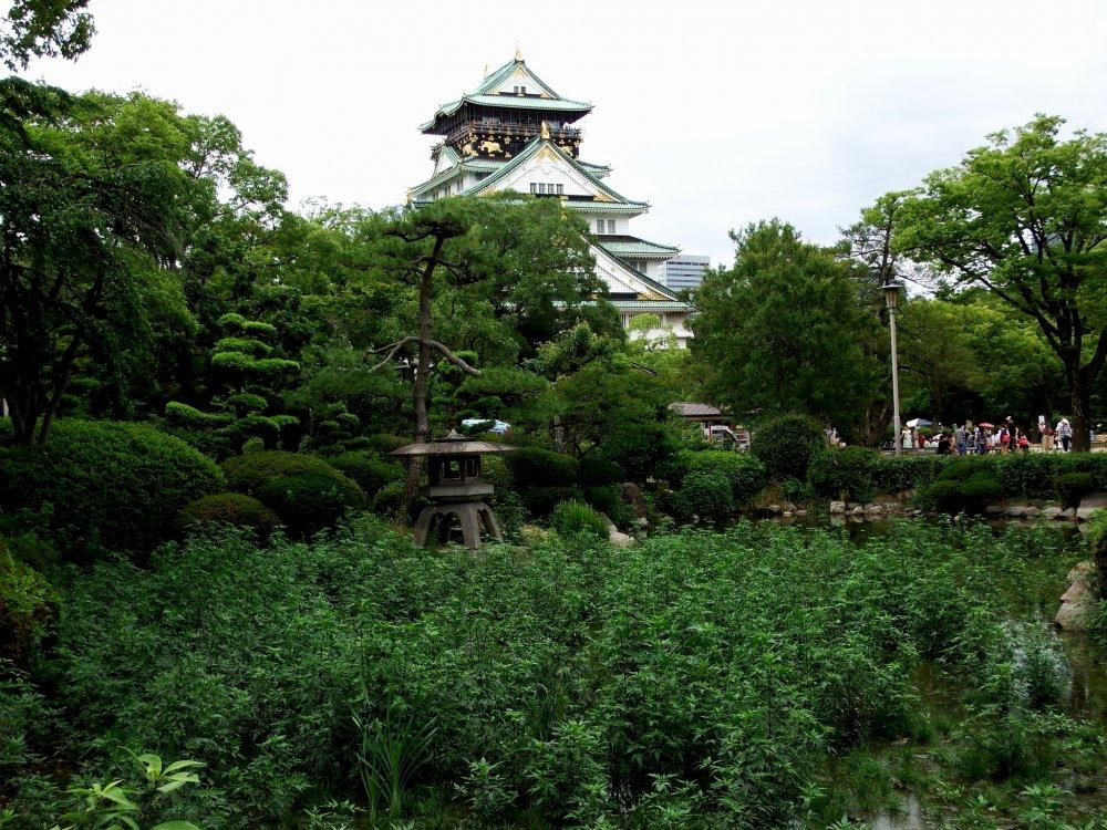 この日本庭園は大阪城天守閣を借景として造園されている