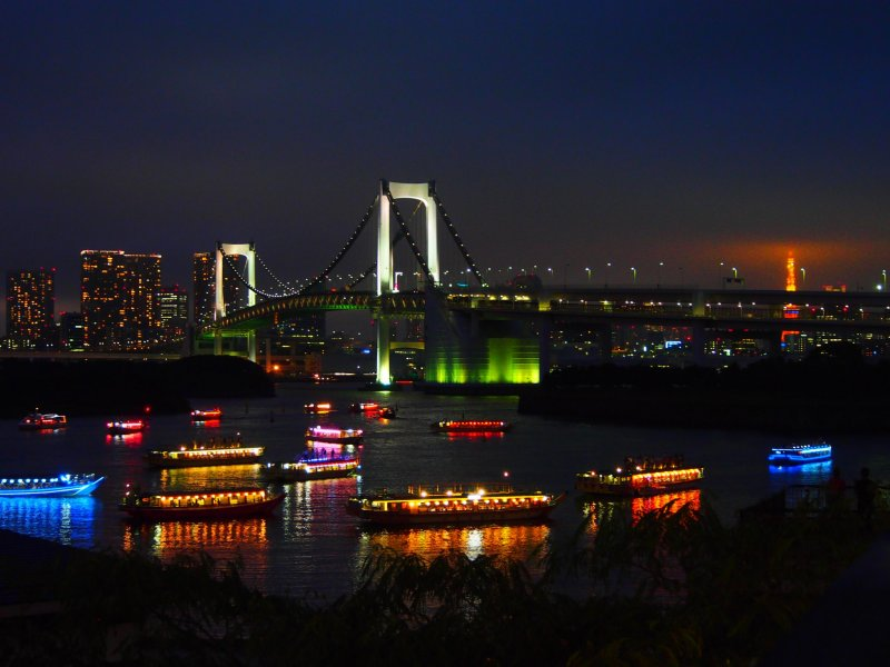 The Rainbow Bridge, which connects Odaiba to the rest of Tokyo, is an iconic symbol of the bay. At night, the bridge is illuminated, and, from the right angle, Tokyo Tower can also be seen lit up in the background. The bridge supports cars, trains and pedestrians.
