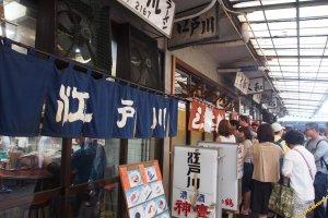 Be prepared to cue up outside the restaurants at Tsukiji