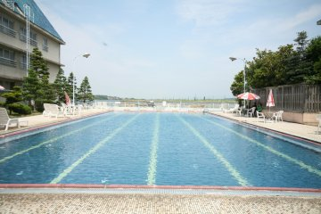 Swimming pool that opens during summer