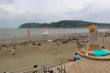 A view from the south entrance ofZushi beach. Most popular for windsurfing.