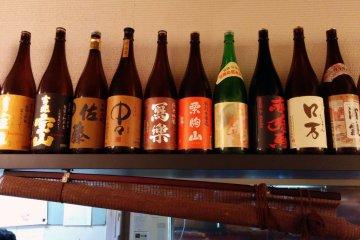 <p>Sake bottles used as decoration&nbsp;</p>
