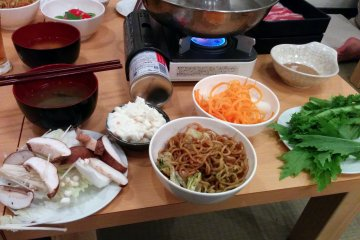 <p>My second round after visiting the buffet table yielded a stock of veggies, miso soup, and yaki soba</p>
