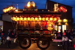 Beautifully lit and colored Yatai at the 2014 festival