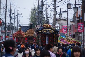 Three Yatai heading towards the Kanodoro Lantern meeting place for the Yatai festival