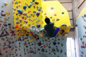 The most challenging part of the bouldering wall; the overhanging part makes it extremely difficult