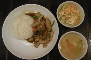 <p>&quot;Stir Fried Chicken with Ginger on Rice&quot; &nbsp;</p>