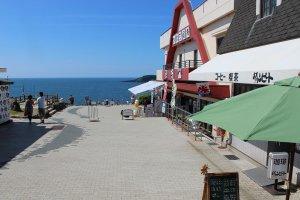 福井県のランドマークとも言える東尋坊。その断崖のほん前に「喫茶ダウンビート」はある。最高のロケーションだ