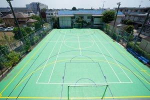 The tennis/soccer court that residents can use
