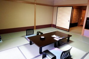 Spacious Japanese room of Hotel Matsuya SenSen. Western rooms with twin beds are also available in this hotel