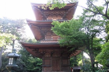 <p>The three-tiered pagoda, referred to in Japanese as sanju-no-to. On the second tier, you can see two hidden cats placed. Pagodas always have an uneven number of tiers and are known as the &quot;house of worship&quot; making it a desired&nbsp;attraction on temple grounds.</p>