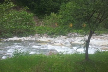 <p>The river flows by outside the window providing relaxing background noise</p>