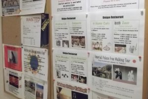 There's a board with lots of information about sights, shops and restaurants