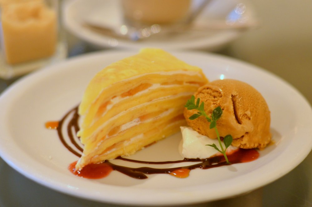 A delectable dessert: mille crepe with ice-cream