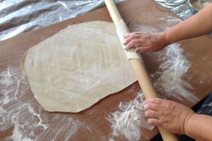 Roll it out flat and get ready for cutting