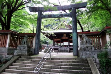 <p>The torii gate inside the shrine grounds. Two statues of guardian dogs are on guard at the entrance</p>