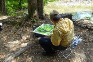 ในภาพวาดของจิตรกรคนหนึ่งได้ลงสีเขียวไว้หลายๆ เฉดสวยมาก