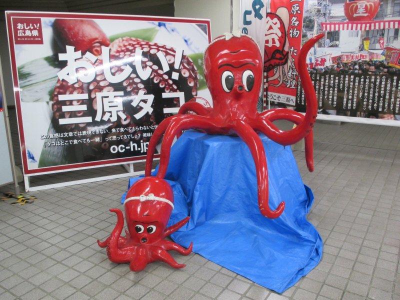 <p>Octopus&nbsp;statues invite travelers to try Mihara&#39;s&nbsp;octopus</p>