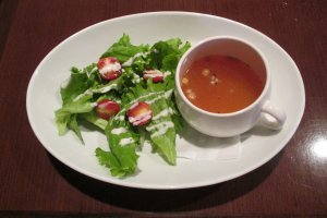 A crisp salad and steaming hot soup