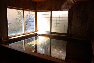 An inside hot spring is ready for customers year round