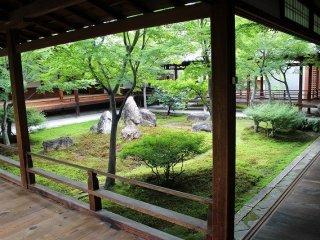 中庭の植栽も雅趣溢れる。庭中央に立つ石は三尊を表している