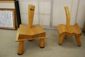 "A ""couple"" of chairs as seen in the showroom of the Egashira family"