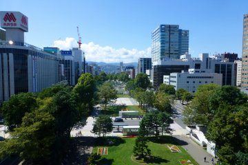 <p>Odori Park from the 3rd floor Sky Lounge. There is also a restaurant located on the 3rd floor.</p>