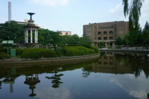 Tsurumai park fountain and Kokaido Civic Assembly Hall