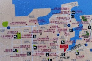 The map at Mitsu Station (with raindrops)