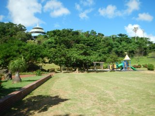 A view of the main park field. A good spot for Frisbee, sun bathing, etc. There is also shaded areas with picnic tables