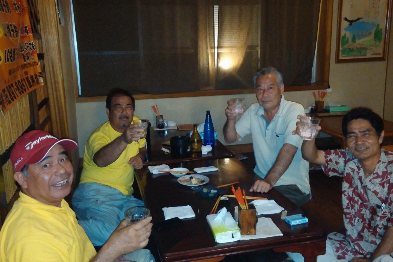 Locals enjoying drinks and conversation