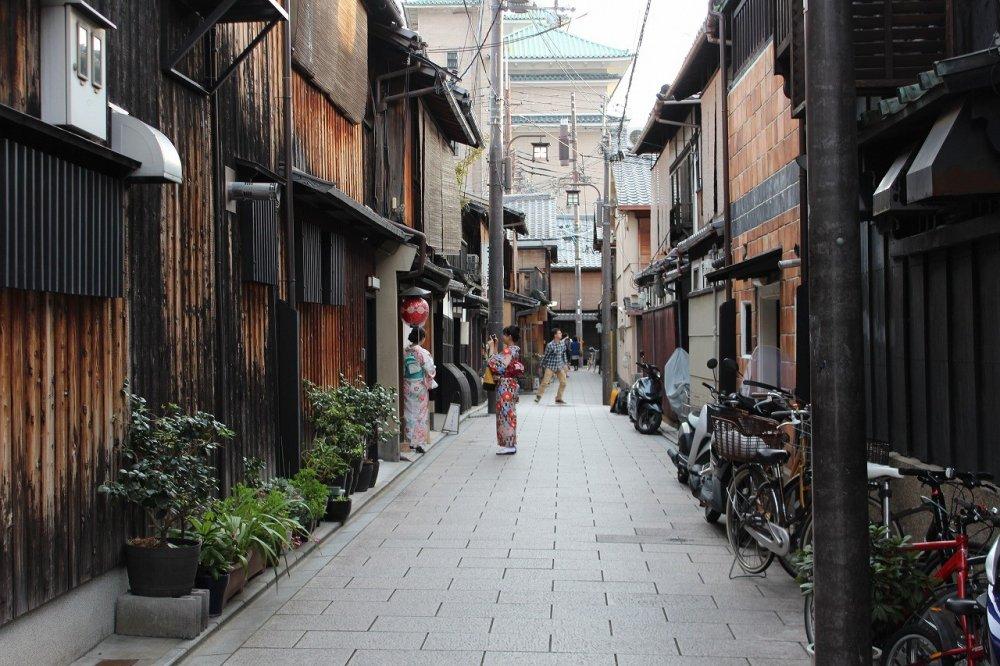 기모노를 입은 관광객이 최근 늘었다. 그녀들의 모습은 기온의 분위기를 더욱 우아하게 한다