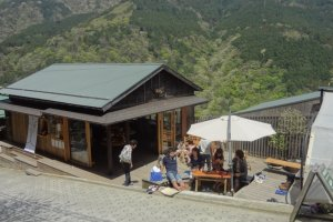 The cafe is just in front of the Miyanoshita Station on the Hakone Tozan Testudo Line.