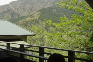 The cliff-side terrace seats offer a nice mountain view.