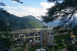 The view down into Yuzawa from outside the onsen