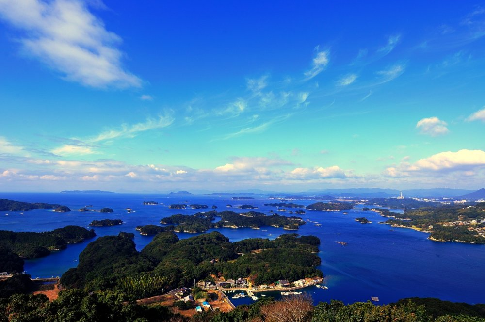 Majestic view of Kujuku-shima (Kujuku Islands) seen from the observation deck of Tenkaiho Park