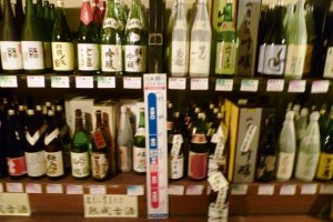 Displays of various sake